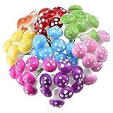 iTemer - 60 adornos en miniatura de hongos para decoración de plantas de resina y bonsái, diseño de hadas, decoración de plantas