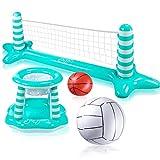 Joyjoz Inflable Voleibol Piscina Baloncesto Inflable Piscina Juguete Flotante Red de Voleibol para Piscina Baloncesto Araño Agua Deportes Juguetes de Verano para Niños y Adultos