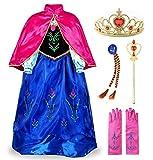 JerrisApparel Niña Princesa Anna Disfraz Fiesta de Cosplay Vestido (7-8 años, Anna con Accesorios)