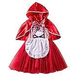 IWEMEK Disfraz Caperucita Roja Niña Vestido de Princesa tutú + Capa con Capucha Disfraces de Carnaval Fiesta Halloween Navidad Trajes Cosplay Fancy Dress Up Infantil Bebé Ropa Rojo 3-4 años