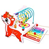 BeebeeRun Laberinto de Cuentas de Madera y ábaco y Instrumentos Musicales de Xilófono para Niños de Madera, Regalo de Juguete de Madera 3In1 Adecuado para Niños pequeños y niños de 2 a 5 años