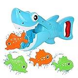 Bammax Juguetes Bañera, 5 pcs Peces Marinos Juguetes de Baño Bebe, Plastico Juego de Ducha Bebe, Juego de Pesca Piscina Niños, Incluye un Tiburón Blanco Capturador y 4 Peces Pequeños