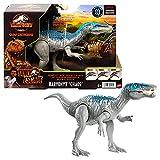 Jurassic World Ataque Rugido Baryonyx caos Dinosaurio articulado con sonidos, figura de juguete para niños (Mattel HBX37)