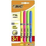 BIC Highlighter Grip Marcadores Punta Biselada - Colores Surtidos, Blíster de 3+1 - Subrayadores fluorescentes con tecnología antisecado