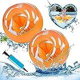 Manguitos de Natación para Niños Brazalete Hinchable Flotador Mangas Brazaletes de natación inflables Herramientas de Aprendizaje de Natación para Niños de 3 a 14 Años Naranja