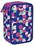 MILAN Plumier 3 Pisos Con Contenido Dotty Estuches, 20 cm, Rosa