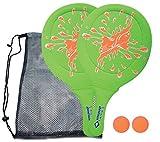 Schildkröt Funsports Juego de Tenis de Playa de Neopreno, 2 Raquetas, 2 Pelotas, en un Bolsillo de Malla, Verde, 970219