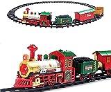 deAO Tren Clásico Infantil con Luces y Sonidos Conjunto Navideño de Vías, Locomotora y 3 Vagones Tren de Juguete Electrónico Decoración de Navidad