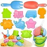 Sanlebi Juguetes de Playa para Niños en Bolsa de Malla con Cubo Playa Palas Rastrillo Moldes de Arena Juegos Playa para Niños (11 PCS)