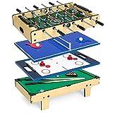 HEZHANG Juego de Competiciones de Arcade 4 en 1, Juguetes Educativos para Niños en Interiores, con Billares de Billar, Foosball Air Hockey Y Tenis de Mesa de Juegos de Arcade