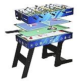 Devessport - Sport Arena - Multijuego 4 en 1 - Futbolín, Billar, Airhockey, Ping-Pong, Barras metálicas, Mango de plástico - Medidas: 122 x 60.5 x 82 Cm