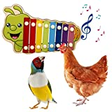 N/G Juguete de pájaro de Juguete de xilófono de Pollo con 8 Llaves de Metal Juguete de picoteo de gallinero con Piedra de pulir