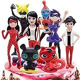 Ladybug Cake Topper Mini Juego de Figuras Niños Mini Juguetes Baby Shower Fiesta de cumpleaños Pastel Decoración Suministros 8 piezas