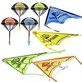 JOYIN Juego de 8 peldaños y paracaídas 2 en 1 con figuras, juego de juguetes voladores para niños al aire libre