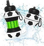 Botella Agua Silicona Diseño Fútbol y Deporte - Niños, Niñas y Adultos- Plegable - Libre de BPA - Muy Resistente - Agua Limpia y Pura - 550ml
