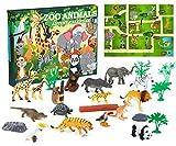 KreativeKraft Calendario Adviento Animales del Zoo, Calendario de Adviento para Niños Incluye 24 Animales de Juguete, Advent Calendar Navidad para Niños y Niñas