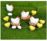 Adornos Jardín Miniatura, 16 Pcs Mini Figuras Jardín Decoración Animal Dibujos Gallina Pollo Miniatura Ornamento Accesorios Kit para Jardín de Hadas Bonsái Casa de Muñecas Planta Decoración del Hogar