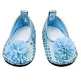mi ji Zapatos para Muñeca American Girl Doll,Zapatos de Vestido de Flores Hecho a Mano Accesorios de Vestir para Las muñecas de American Girl Doll 18 Pulgadas/1 par (Azul)