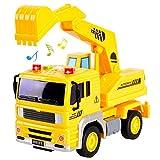 HERSITY Camiones de Juguetes Vehículos de Construcción Excavadora Coches de Friccion con Luces y Sonidos Regalos para Niños