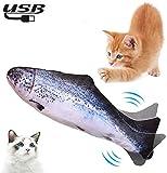 Lacyie Eléctrica Juguete Pez para Gato, Juguetes con Hierba Gatera USB Recargable para Pez Simulación Realista Mascotas Interactivo de Felpa Pez para morder, Masticar, patear y Dormir