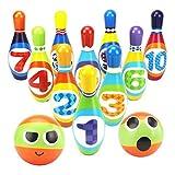 Dreamon Juego de Bolos para niños con 10 alfileres y 2 Bolas,Bolera elota de Juguete para Bebé Infantil 2 3 4 Años