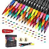 Juego de 72 rotuladores de punta doble de 0,4 mm para colorear, caligrafía, letras manuales, toma de notas GC-72B