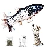 ZFZZC Juguetes Eléctricos para Peces Catnip, Juguete De Pez En Movimiento para Gatos,Realista de Felpa Pez eléctrica, Juguete Divertido del Animal doméstico para el Masticar y el Retroceso del Gato