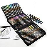 Lapices de Colores Profesionales para Adultos y Niños, Juego de 72, Lápices de Dibujo de Colores aceitosos con Kit de Bolsa portátil para agrupar y proteger sus Lápices de Colores
