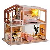Kit de casa de muñecas en miniatura de bricolaje Kit de muebles y casa de muñecas de madera hechas a mano Escala 1:24 Juguetes creativos de casa de muñecas Modelo de apartamento nórdico (QL003)