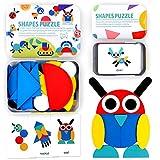 StillCool Tangram Puzzle, 36 Tangram Puzzle de Madera Montessori+ 60 PCS Diseño Tarjetas para Bloques de Patrones de Madera Animales Puzzles Juegos de Clasificación y Apilamiento para Niños(2 años +)