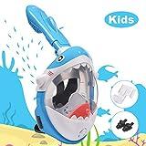 LEMEGO Mascara de Buceo para Niños, Diseño de Tiburones Máscara de Snorkel 180 ° Panorámico Máscara de Buceo de Cara Completa GoPro Compatible con Anti-Niebla y Anti-Fugas