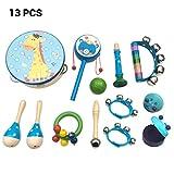 Knowooh 13 Piezas Instrumentos Musicales Conjunto de percusión de Madera Tambores Juguetes de percusión Conjunto para niños pequeños y música para bebés Juguetes para niños Regalos (Azul)