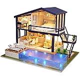 【𝐒𝐞𝐦𝐚𝐧𝐚 𝐒𝐚𝐧𝐭𝐚】 Casa de muñecas de Bricolaje, Kit de Muebles en Miniatura de casa de muñecas de Madera con LED, Mini Villa Hecha a Mano con Piscina Montaje de casa de muñecas Juguete Regalos