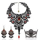 BagTu Conjunto de aretes y Collar de Encaje Negro, Gargantilla con Colgante Rojo Lolita Gothic para Disfraces de Halloween y Bodas