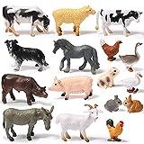 16 Juguetes de Figuras de Animales de Granja Figuras de Animal de Selva Realistas Mini Adorno de Topper de Tarta Juego Educativo de Aprendizaje para Suministros de Fiesta Navidad
