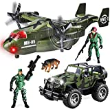 JOYIN Juego de Juguete de vehículo Militar de avión de Transporte y camión Militar con Motor de fricción con Sirenas de luz y Sonido y Figuras de acción de Soldados del ejército para niños