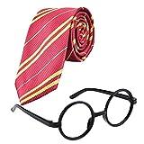 Xrten Disfraz de Corbata para Niños, Disfraz de Harry Potter para Niño, Accesorios de Halloween Cosplay Novedosas Gafas y Corbata, Accesorios para Graduación