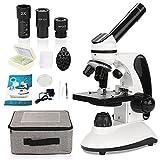 Microscopio 40X-2000X para Estudiantes, con Adaptador de teléfono, Juego de portaobjetos de microscopio para Laboratorio Escolar, hogar, investigación científica biológica, educación.
