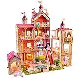LADUO Casa de muñecas, con 49 Piezas de Accesorios para Muebles y Luces. Juguete de casa de muñecas Grande de 4 Pisos (Altura 102 x Longitud 93 x Ancho 63cm) para niñas de 3 a 6 años(4 Pisos)