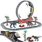 deAO Parque Jurásico Vías de Tren en el Mundo de los Dinosaurios Conjunto Infantil Incluye Circuito con Lazo Doble, Tren Electrónico y Accesorios de Carril