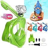 HINATAA Máscara de Buceo para Niños, 180 °Máscara de Snorkel de Cara Completa Infantil, Anti-vaho Anti-Fuga Máscara de Gafas Compatible con GoPro, Adecuado para Niños de 4 a 12 Años (Verde)