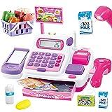 Buyger 34 Piezas Caja Maquina Registradora Juguete Electrónica Supermercado con Escáner Calculadora y Micrófono para 3 4 5 Años Niña (Rosa)
