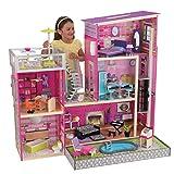 KidKraft- Uptown Casa de muñecos de madera con muebles y accesorios incluidos, 3 pisos, para muñecos de 30 cm, Color Rosa (65833)