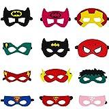 Ouinne 12 Piezas Máscaras de Superhéroe, Máscaras de Fieltro Mitad de Cosplay con Cuerda Elástica de Fiesta de Cumpleaños Favorece Niños Niños Niñas