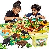 Buyger 58 Piezas Juguetes de Animales con Alfombra de Juego Figura Salvajes Jungla Tigre Jirafa León Juguetes Educativos Cumpleaños para Niños Niña