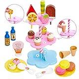 Buyger Heladería de Juguete Bricolaje Helados Comida Alimentos Juguetes Educativo Regalo Juego de Imitación para Niñas Niños 3 4 5 Años (Rosa)