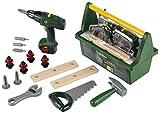 Theo Klein 8429 Caja de herramientas Bosch, Con sierra, martillo, alicates y mucho más, Destornillador eléctrico a pilas, Medidas: 31 cm x 16.5 cm x 22.5 cm, Juguete para niños a partir de 3 años