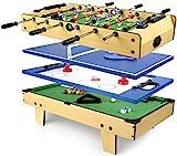 Leomark Mesa Multifuncional Multijuegos Futbolin Mesa de Juego 4 en 1 (Futbolín, Billar, Tenis, Hockey) Buena Diversión para Niños Deporte Madera