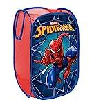 Superdiver Cesta Plegable Infantil de Tela con Asas para Ropa Sucia y Juguetes 36x36x58 centímetros (Spiderman)