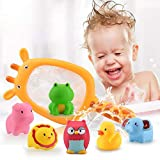Queta Juguete para el baño, 7 Piezas Juguetes de bañera Juguetes acuáticos diversión acuática para niños con 1 Red de Pesca y 6 Animales Marinos